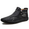 Men Vintage Hand Stitching Microfiber Leather Side Zipper Ankle Boots - Black