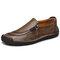 Menico أحذية رجالية اليد خياطة سحاب سليبونس الجلدية