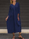 Solid Color V-neck Long Sleeves Casual Dress For Women - Navy