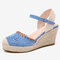 LOSTISY Women Hollow Comfy Closed Toe Buckle Strap Espadrille Wedges Sandals - Blue