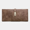 Women 5.5 Inch Phone 5 Card Slots Frosted Bifold Long Wallet Purse - Coffee