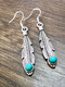 Vintage Turquoise Feather Women Earrings Alloy Carved Pendant Earrings - Silver