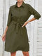 Lapel 3/4 Length Sleeve Button Pocket Solid Color Belt Casual Dress - Army Green