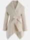 Solid Color Waistband Asymmetrical Hem Long Sleeve Casual Coat for Women - Apricot