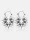 Vintage Hollow Flower Women Pendant Earrings Jewelry Gift - Gold