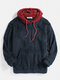 Mens Patchwork Casual Fleece Loose Pouch Pocket Teddy Hoodie - Navy