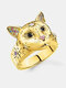 Vintage Animal Women Ring Cat Head Colored Star Ring Jewelry Gift - Gold