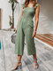 Solid Color Ruffle Strap Sleeveless Casual Jumpsuit With Pocket - Army Green