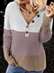 Casual Knit Patchwork V-neck Button Plus Size Sweater - Pink