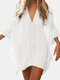 Women Bat Sleeve Cover Ups Trim Solid V-Neck Over Head Breathable Sunscreen Beachwear - White