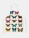 تنظيف بنمط الفراشة Colorful مآزر الطبخ المنزلي مريلة المطبخ للطبخ ارتداء مرايل الكبار من القطن والكتان - #08