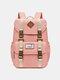 Women Waterproof Patchwork Large Capacity Travel Backpack School Bag - Pink