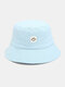 Women & Men Smile Embroidery Pattern All-match Outdoor Casual Sunshade Bucket Hat - Blue