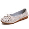 Women Bowknot Hollow Out Round Toe Casual Loafers Soft Sole Ballet Flat - Beige