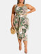 Leopard Leaves Tank Top & Knotted Bodycon Skirt Plus Size Suit - Green