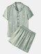 Men Light Green Star Print Luxury Pajamas Short Sleeve Faux Silk Slepwear Cozy Loungewear - Green
