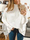 Solid Color High Neck Dolman Sleeve Sweater - White
