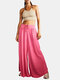 Solid Color Drawstring A-Line Bandage Loose Casual Pants For Women - Rose