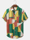 Mens Geometry Color Block Print Short Sleeve Shirt With Pocket - Yellow
