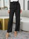 Solid Color Ruffle Knotted Casual Pants For Women - Black