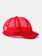 ユニセックスメッシュ通気性調節可能なショートカーブ野球帽 - 赤