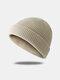 Bonnet unisexe en laine tricoté de couleur unie Casquettes de crâne Bonnets sans bord - Beige
