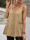 Solid Color Lace Patchwork Sleeveless O-neck Tank Top - Khaki