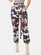 Camo Print Casual Cargo Pants With Pocket For Women - Maroon
