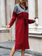 Contrast Color Drawstring Zipper Long Sleeve Casual Dress for Women - Wine Red
