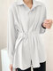 Women Solid Color Long Sleeve Loose Casual Blouse With Belt - White