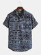 Mens Gradient Color Print Short Sleeve Breathable Henley Shirts - Navy