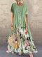 Vintage Print Patchwork Sommer Plus Größe Maxi Kleid mit Taschen - Grün