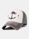 Unisex Distressed Cotton Contrast Color Patchwork Boat Anchor Stars Printed Sunscreen Baseball Caps - #06