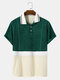 Mens Design Towelling Topsithch Two Tone Short Sleeve Casual Golf Shirt - Green