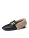 Women Casual Metal Decoration Warm Plush Lining Flanging Loafers Shoes - Black