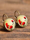 Vintage Flower Pattern Women Earrings Glass Printed Pendant Earrings Ear Hooks - #07