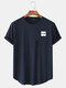 Mens Fun Letter Graphic Curved Hem Cotton Short Sleeve T-Shirts - Navy