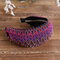 Bohemian Style Wide Hair Hoop Headband Ethnic Style Colorful Striped Fabric Hair Hoop Travel Home Leisure Hair Band - Rose Red
