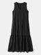 Solid Sleeveless V-neck Plus Size Ruffle Long Dress - Black