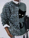 Leopard Cat Patchwork Printed O-neck Long Sleeve T-shirt - Green