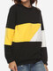 Casual Color Patchwork Long Sleeve Pullover Sweatshirt - Yellow