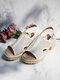 Women Comfy Open Toe Hollow Out Slingback Buckle Chunky Heel Sandals - White