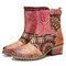 SOCOFY Retro Cloth Splicing Flower Embossed Cowhide Leather Slip Resisstant Chunky Heel Short Boots - Brown