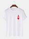 Mens Ace Of Hearts Poker Print 100% Cotton Short Sleeve T-Shirts-9 Colors - White1