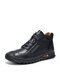 Men Soft Hand Stitching Lace-up Short-top Casual Business Ankle Boots - Black