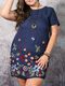Ethnic Floral Embroidery Plus Size Linen Beaches Dress with Pocket - Navy