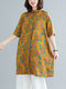 Vintage Flower Printed Plus Size Button Long Shirt Dress with Pocket - Yellow