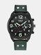 Fashion Leather Band Watches Mens Calendar Army Sports Quartz Watch - Green