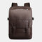 Men Flap PU Leather Bag Casual Solid Backpack - Coffee