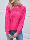 Round Neck Long Sleeve Knitting Pullover Chunky Sweater - Pink 1